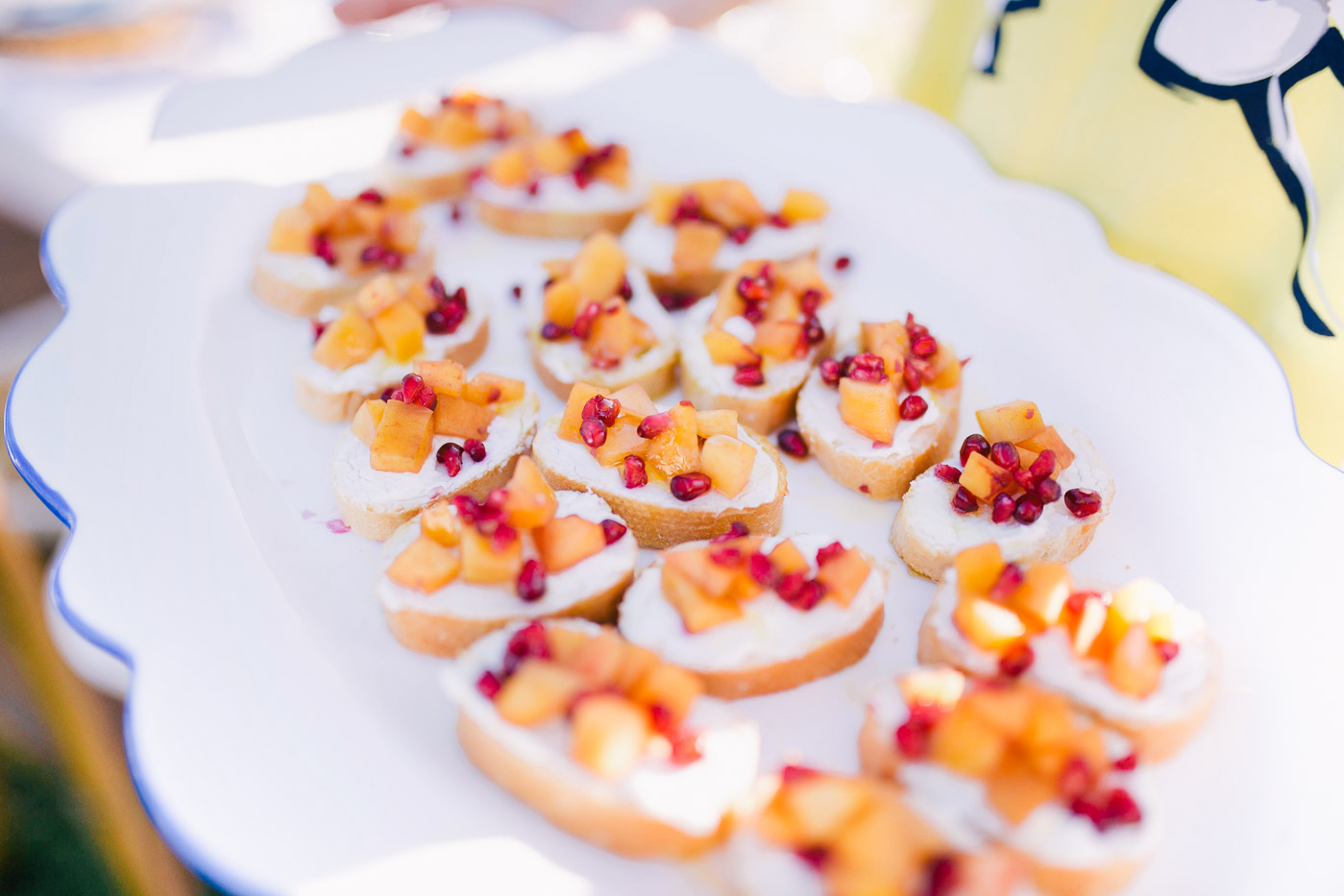 A recipe for Peach Crostinis topped With Honey Whipped Goat Cheese from Lauren Cermak of the Southern Lifestyle Blog, Going For Grace.