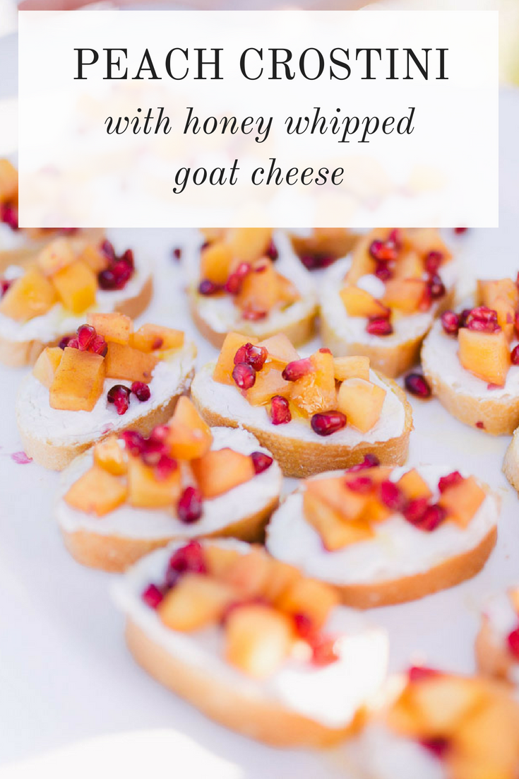 A recipe for Peach Crostini topped With Honey Whipped Goat Cheese from Lauren Cermak of the Southern Lifestyle Blog, Going For Grace.