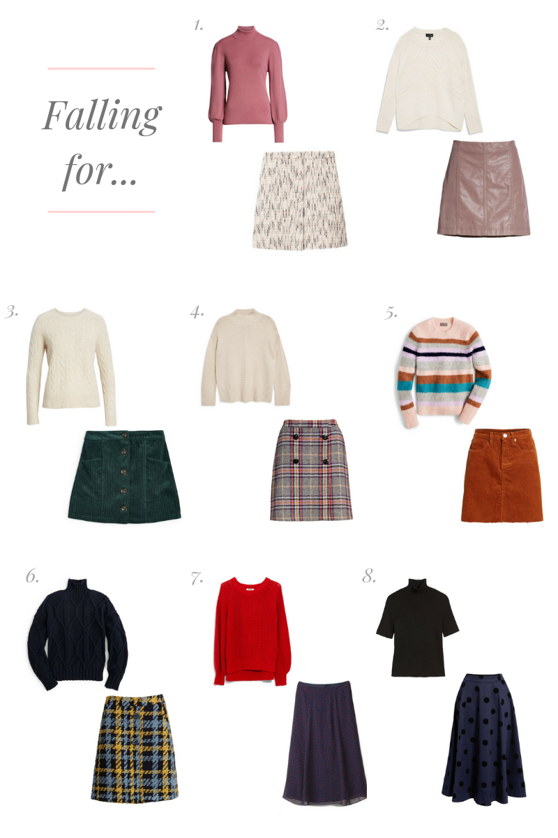 Eight sweater and skirt combinations that are perfect for Fall weather by Lauren Cermak of the Southern Lifestyle Blog, Going For Grace.