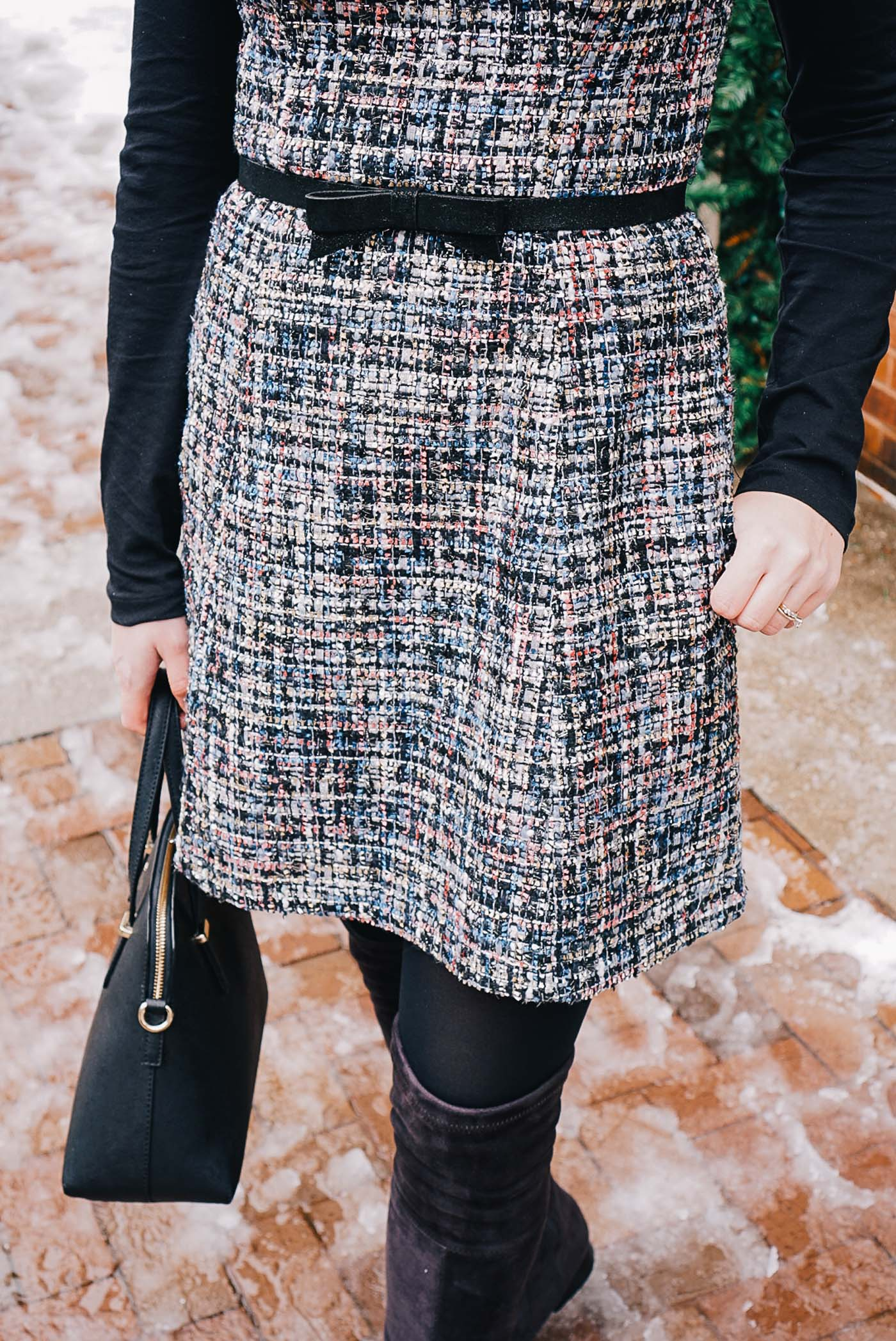 A December bucket list by Lauren Cermak of the Southern lifestyle blog, Going for Grace. Featuring a Gal Meets Glam tweed dress.