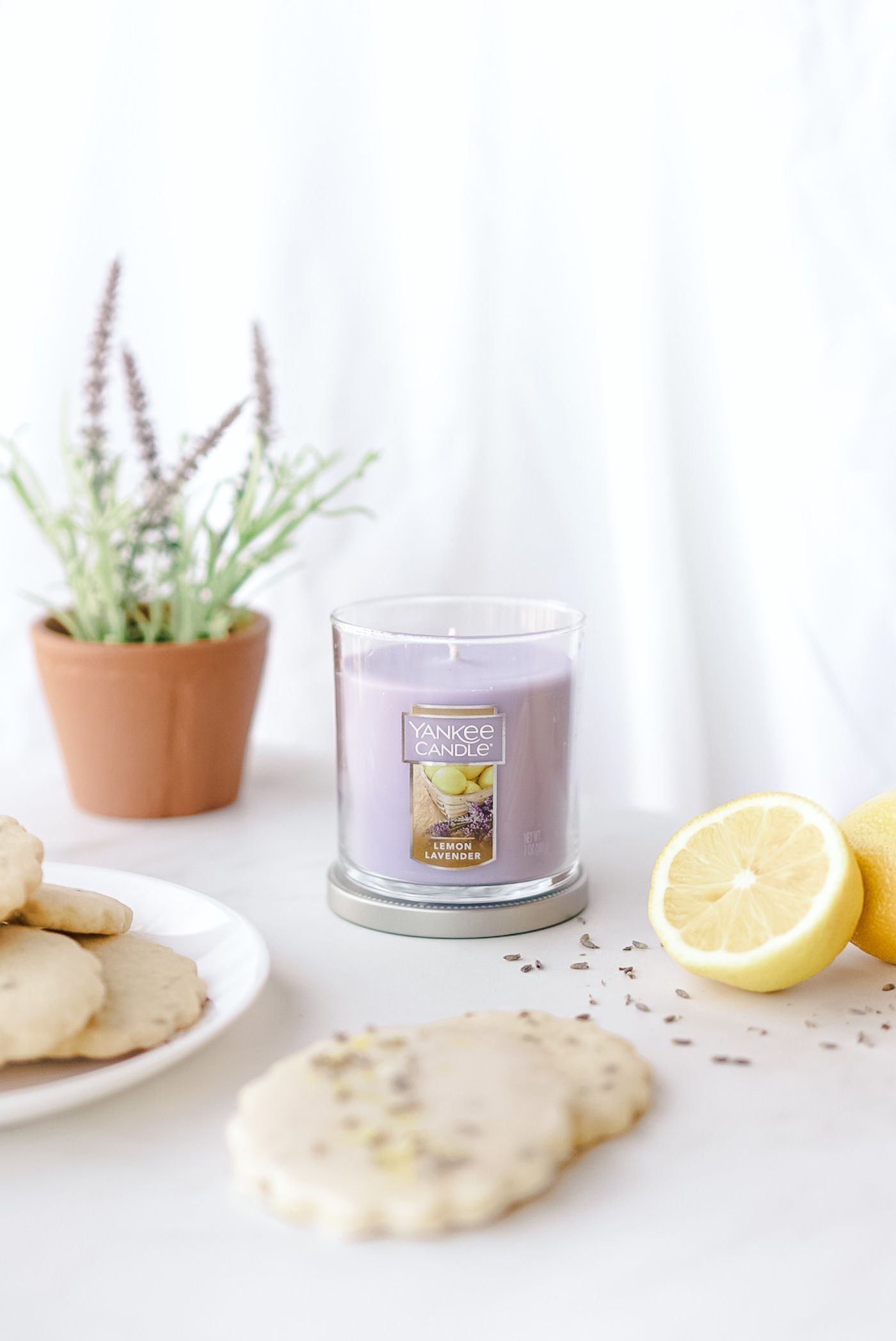 yankee candle lemon lavender on white marble counter
