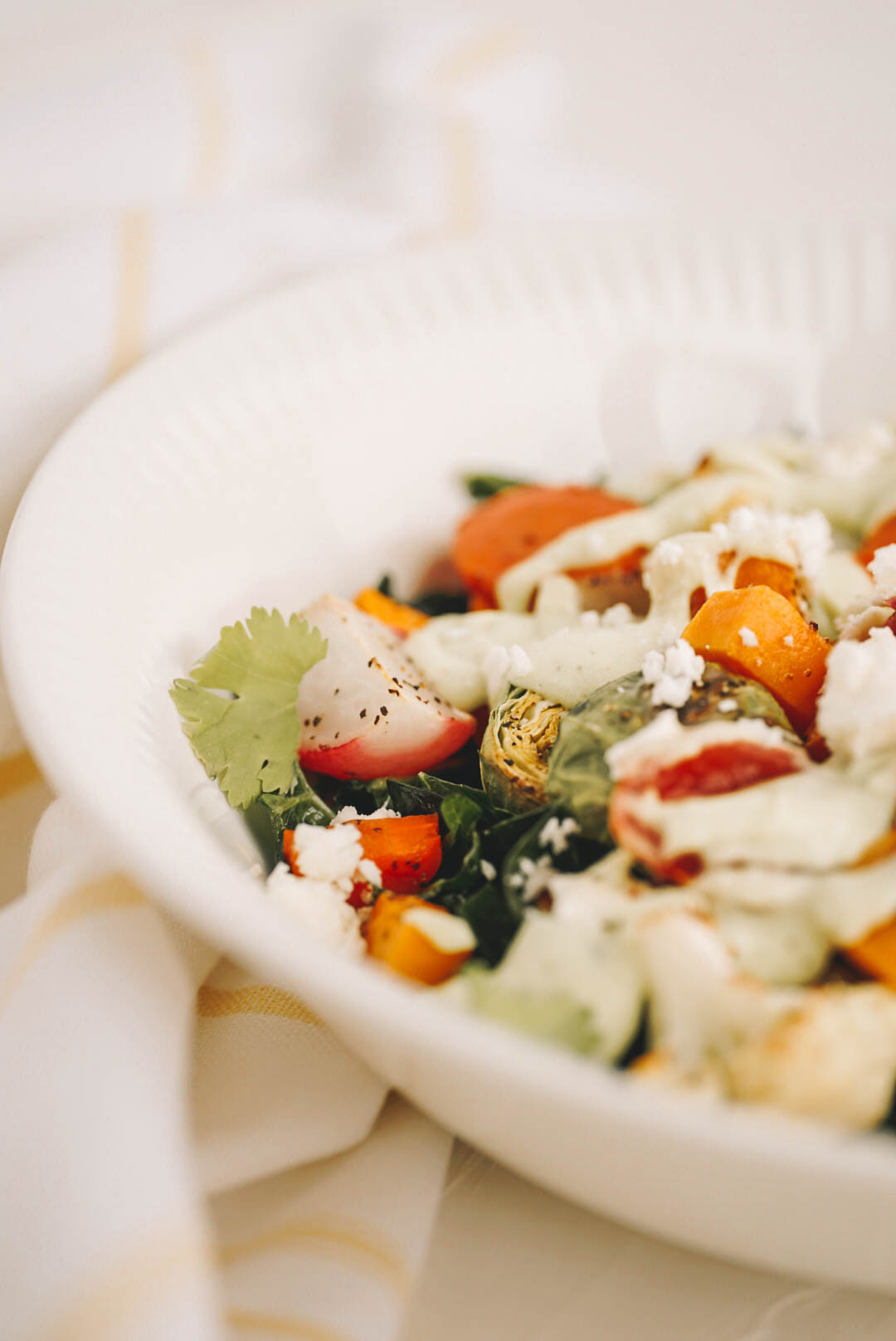 roasted vegetable salad in white salad bowl on dishcloth