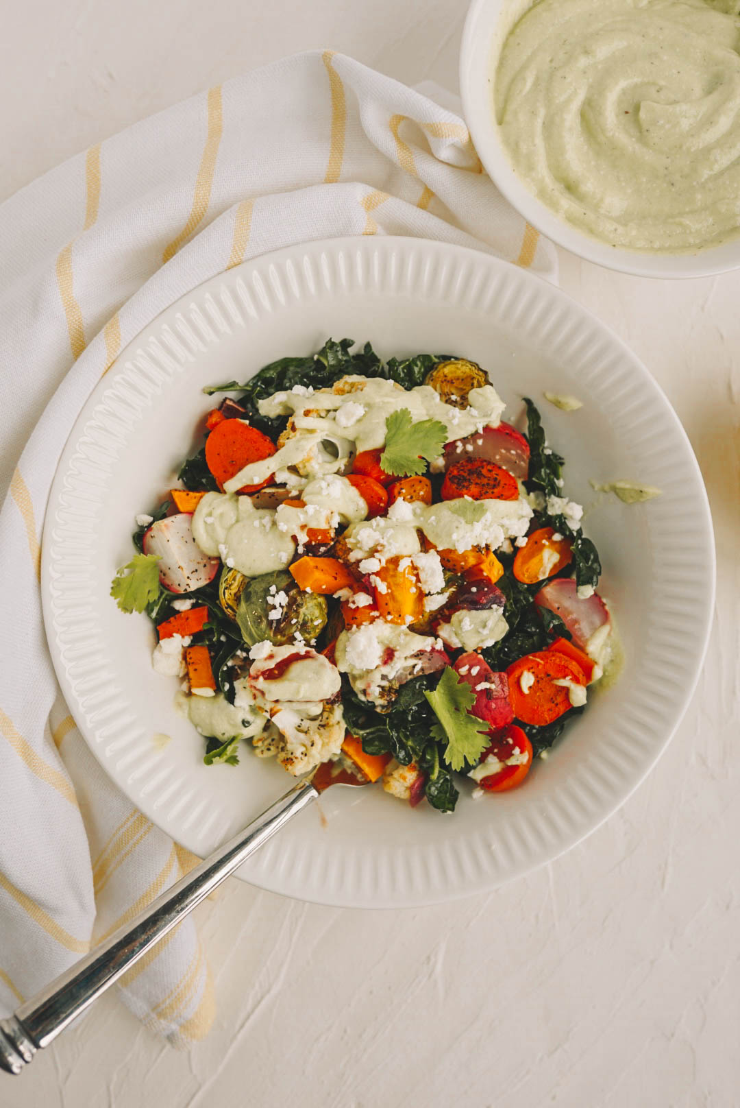 creamy salad dressing with roasted vegetable salad