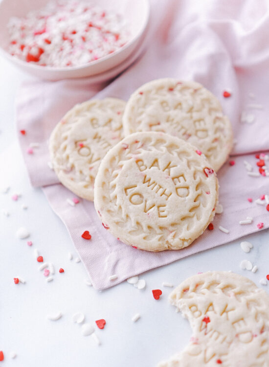 Valentines Day Sugar Cookies with red and pink sprinkles